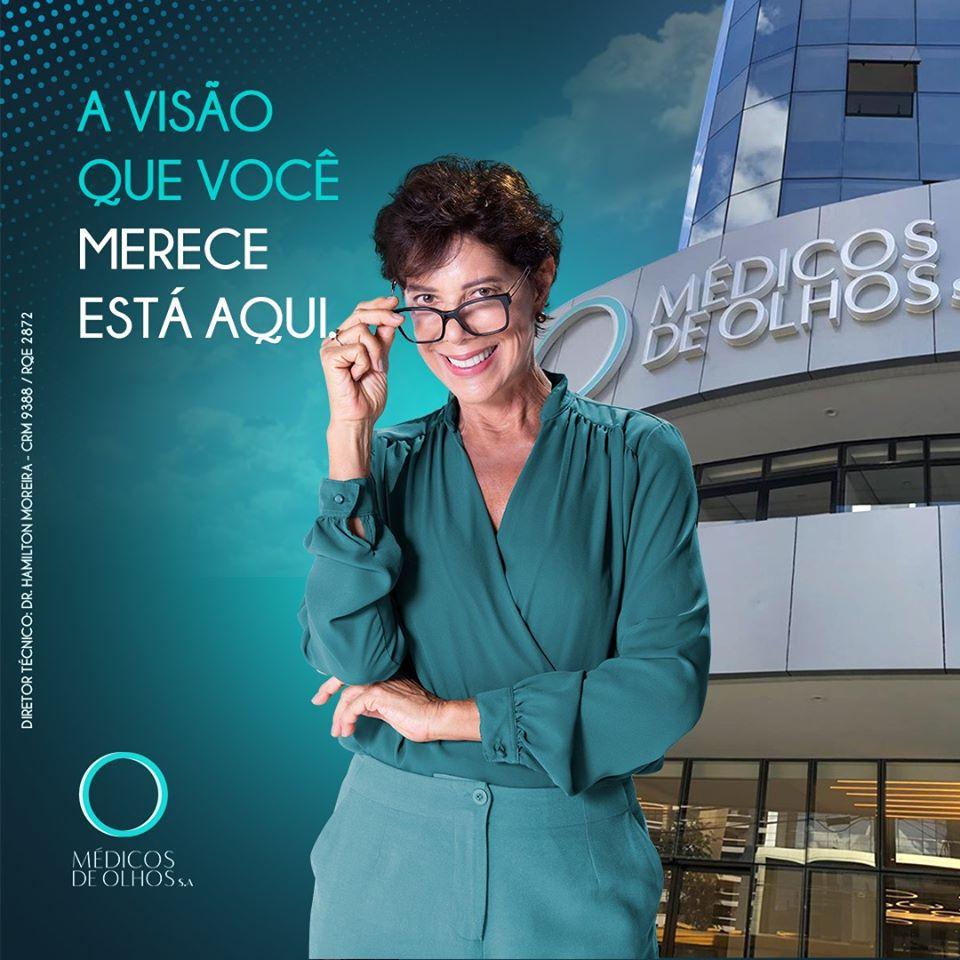 Atriz Angela Vieira na Unidade Premium, no Batel, do Médicos de Olhos S.A